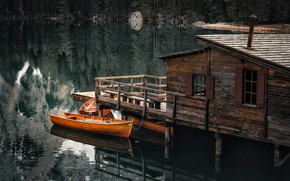 Picture forest, landscape, nature, lake, house, reflection, boats, pier, Italy, The lake of Braies, Braies