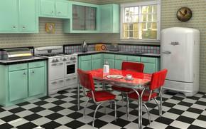 Picture design, style, retro, interior, kitchen, Retro style, dining room