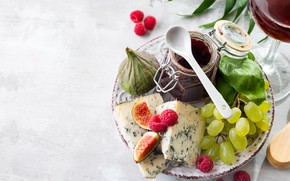 Picture raspberry, cheese, grapes, jam, figs