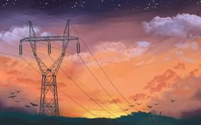 Picture Sunset, The sky, Clouds, Stars, Birds, Art, John Irvin Luayon, by John Irvin Luayon, Sun …