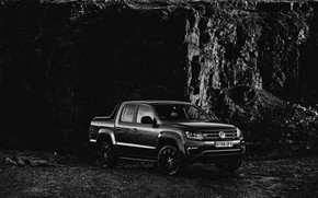 Picture Volkswagen, pickup, Amarok, Black Edition, 2019, at the rock