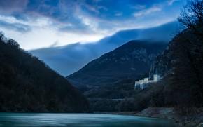 Picture autumn, forest, the sky, clouds, trees, landscape, mountains, branches, blue, lake, river, blue, castle, blue, ...