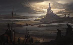 Picture Castle, Knights, Fantasy, Landscape, Knight, War, Concept Art, Environments, Alejandro Olmedo, by Alejandro Olmedo, The …