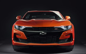 Picture Chevrolet, Orange, Camaro, Front, Front view, 2SS, 2019