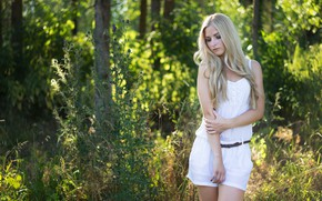 Picture forest, girl, trees, hair, shorts, blonde, girl, sexy, in white, long hair, woman, beautiful girl, …