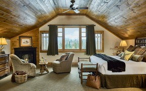 Picture design, comfort, interior, fireplace, bedroom, cozy room, At the blue river house