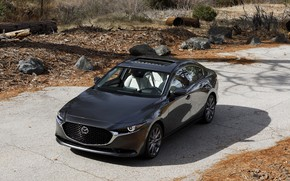 Picture road, autumn, black, Mazda, Hatchback, Avot
