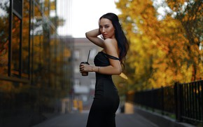 Picture girl, Model, long hair, dress, trees, breast, photo, photographer, autumn, lips, face, brunette, coffee, body, …