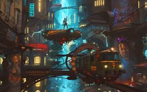 Picture Figure, The city, People, Lightning, Locomotive, Train, Zipper, Fantasy, Art, Art, Fiction, Train, Thunderbolt, Diesel, …