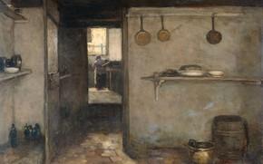 Picture oil, picture, canvas, 1888, Johan Hendrik Weissenbruch, Johan Hendrik Weissenbruch, Интерьер кухни