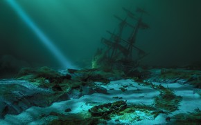 Picture ship, the bottom, ray, shipwreck, ship, bottom, shipwreck, beam, Sergey Paryshkiv