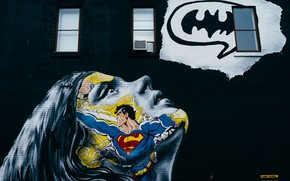 Picture girl, face, wall, graffiti, Superman