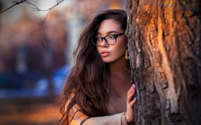 Picture pose, model, portrait, makeup, glasses, hairstyle, brown hair, is, bokeh, the tree, Ruslan Duke