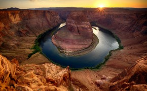 Picture river, rocks, canyon, AZ, USA, Horseshoe Bend
