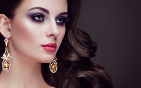 Picture look, girl, style, model, portrait, makeup, hairstyle, decoration, earrings, curls, Oleg Gekman