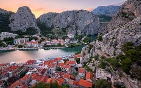 Picture landscape, mountains, nature, the city, river, rocks, home, Croatia, Omis, Cetina