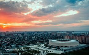 "Picture Sunset, The city, Russia, Stadium, Football club, Krasnodar, Facade, FC Krasnodar, Black-green, ""Krasnodar"", ""FC Krasnodar"", …"