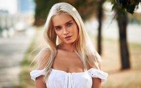 Picture look, pose, background, model, portrait, makeup, hairstyle, blonde, beauty, in white, bokeh, Sergey Yakubitskiy, Katya …