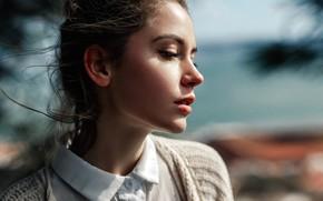 Picture the sun, background, model, portrait, brown hair, beauty, bokeh, Kseniya Kokoreva, Ksenia Kokoreva, Yuri G …