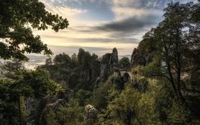 Picture landscape, mountains, bridge, nature, morning