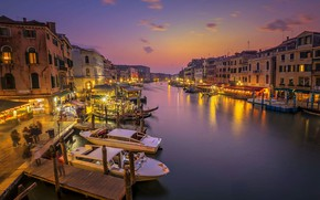 Picture boat, home, pier, Italy, Venice, channel