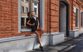 Picture pose, hair, books, Girl, window, hairstyle, form, Oleg Klimin, Maria Neveshkina