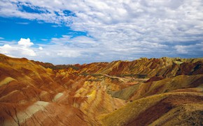 Picture the sky, clouds, mountains, strip, hills, blue, desert, the slopes, red, orange, relief, piles