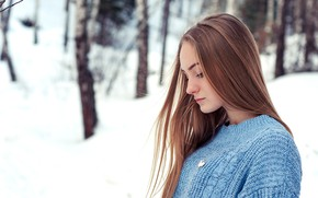 Picture girl, Model, long hair, trees, photo, winter, snow, lips, face, blonde, pose, portrait, profile, mouth, …