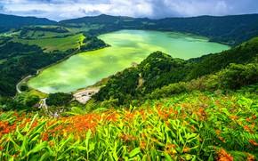 Picture mountains, lake, Portugal, Azores, Furnas Lake