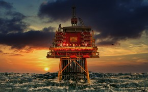 Picture sea, sunset, storm, platform, North sea
