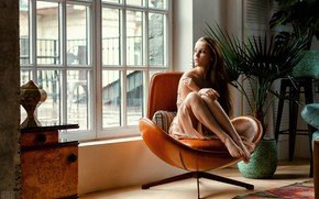 Picture look, girl, pose, room, chair, dress, window, Sergei Tomashev