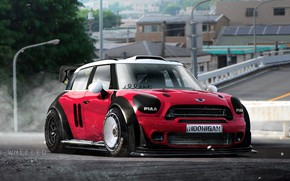 Picture Red, Auto, Mini, Countryman, Machine, Mini Cooper, Illustration, Hoonigan, Transport & Vehicles, by TOO WHEELED, …
