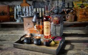 Picture style, bottle, coffee, mugs, still life, cognac, glass, coffee grinder, Smoking pipe, Вадим Овчинников
