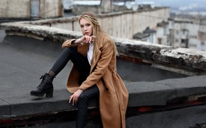 Picture look, girl, pose, shoes, coat, on the roof, Denis Lankin