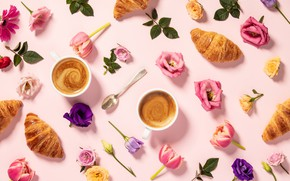 Picture flowers, coffee, morning, Cup, croissants, Natalia Klenova