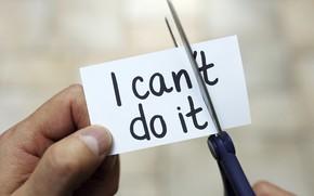 Picture man, phrase, scissors, fingers, motivation