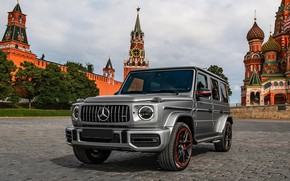 Picture MOSCOW, 2019, Mersedes Benz, G 63 AMG, RED SQUARE, The KREMLIN
