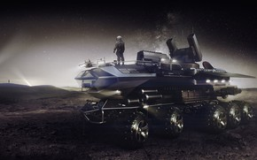 Picture Night, The suit, People, Truck, Fantasy, Art, Surface, Fiction, Truck, Rendering, Transport, Sci-Fi, Science Fiction, …