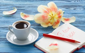 Picture flower, Tulip, coffee, handle, Notepad