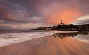 Picture sea, sunset, lighthouse, surf