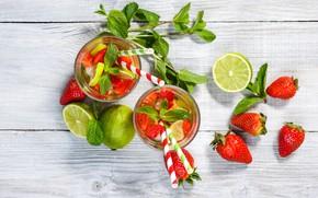 Picture strawberry, lime, glasses, drink, tube, lemonade
