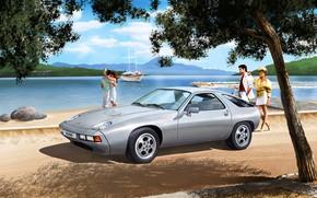 Picture Girl, Tree, Porsche, Germany, Male, sports car, Porsche 928