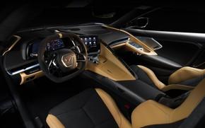 Picture Corvette, Chevrolet, Salon, Leather, The wheel, Stingray, 2020, Chevrolet Corvette ( C8 ) Stingray
