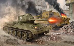 Picture Fire, Tiger II, T-34-85, Royal Tiger, Medium Tank, Heavy Tank