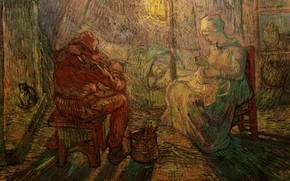 Picture cat, seamstress, Vincent van Gogh, Ramtha, Watch after Millet, Evening The