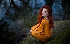 Picture look, water, girl, nature, dress, red, curls, Berezhok, Александр Шелегов