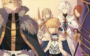 Picture Fate/stay night, Saber, Archer, Merlin, Fate/Grand Order, Bedivere, Gawain, Tristan