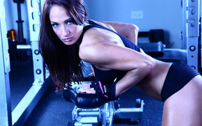 Picture model, look, fitness, gloves, gym, brumette
