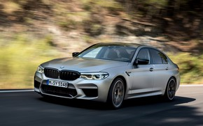Picture grey, movement, blur, BMW, sedan, 4x4, 2018, four-door, M5, V8, F90, M5 Competition