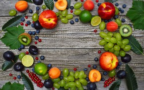 Picture kiwi, blueberries, grapes, lime, peach, wood, apricots